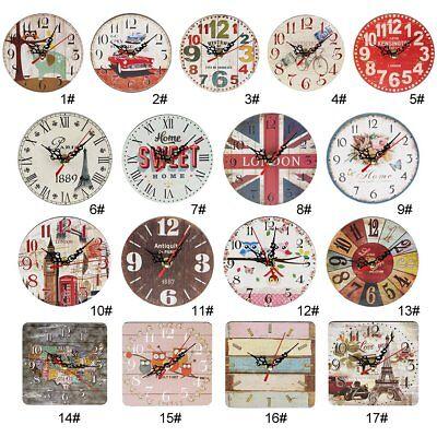 Artistic Silent Creative European Style Round Antique Wooden Home Wall Clock L2@