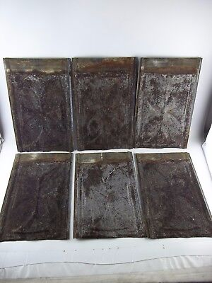 LOT of 6 Antique Tin Ceiling Tile Panel 8x14 Architectural Reclaimed Salvage