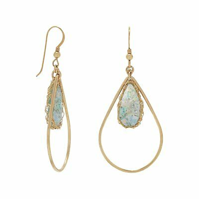 Gold Filled Ancient Roman Glass Pear Drop Set in Gold Woven Mesh Earrings