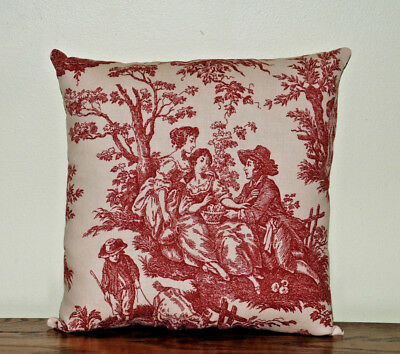 Pillow Square Waverly Country Life Garnet Red Ivory Toile Cotton Handmade
