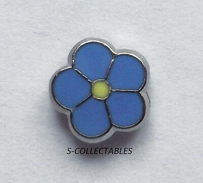 ( 1x ) ✿ MASONIC 'FORGET ME NOT' PIN BADGE ✿ CHROME/ENAMEL FLOWER, LAPEL, GIFT