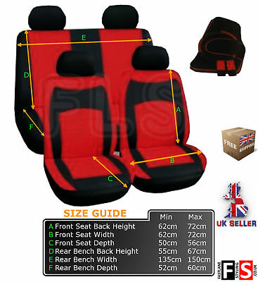 UNIVERSAL FABRIC FULL SET CAR SEAT COVERS-HARNESS-MATS(Blk/Red)-FLSZM002R SZK