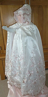 100% silk christening gown & cape set 6-9 month or large reborn baby doll