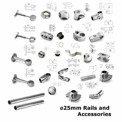 25mm Chrome Tube Pipe Wardrobe Clothes Storage Hanging Courtain Rail Accessories