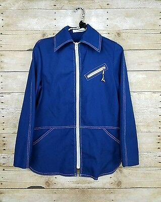 Vtg White Stag 60's Blue Jacket Zip Up Topstitch Retro Hipster Street Style Sz S