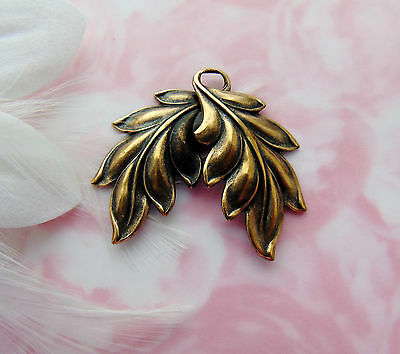 ANTIQUE BRASS Art Nouveau Spray Double Leaves Stamping ~ Leaf Finding (FA-6087)