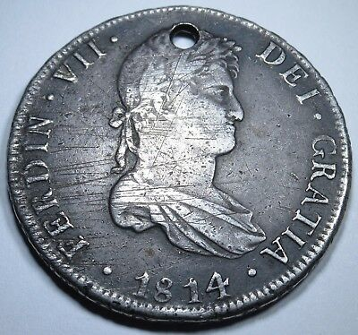 1814 PJ Rare Bolivia 8 Reales Mexico Silver Spain Piece Of Eight Real Coin