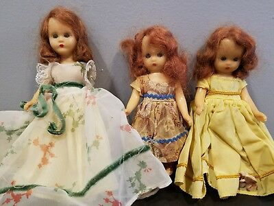 Lot Of 3 Vintage Storybook Dolls With Clothes Dresses Auburn Hair 5.5 & 6.5 Inch