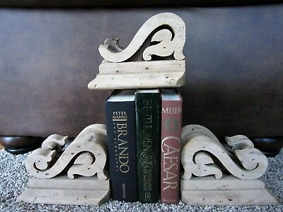 3 STRIPPED Primitive Circa 1870 Wood Corbels Victorian Porch Brackets BOOKENDS!