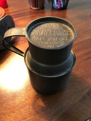 Antique Advertising SNOW FLAKE AXLE GREASE Oil Tin Can Empty Wagons Buggies
