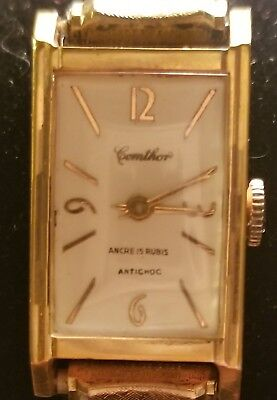 Vintage French Comthor ancre 15 rubis (15 jewels anti-shock)10k solid gold case.