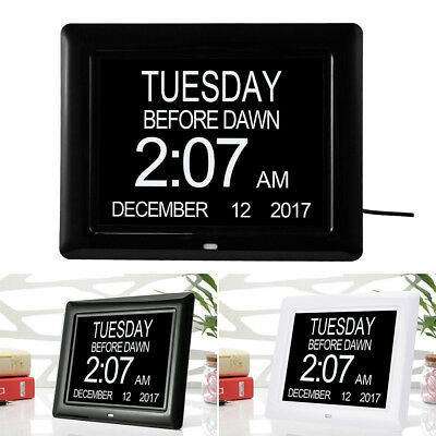 8'' LED Dementia Digital Calendar Day/Week/Month/Year Clock Large Letter Gifts