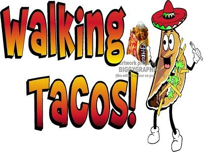 Walking Taco In A Bag Vinyl Decal (Choose Size) Concession Stand Boardwalk Shops