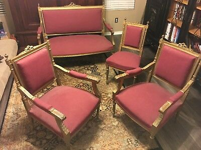 Late 19Th Century French Antique Settee 3 Parlor Chairs French Louis Xvi Style
