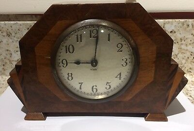 Art Deco Style Windup Clock 8 Day  Made In Wurttemberg ( Germany) Runs Good