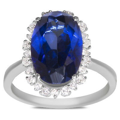 1/3cttw Diamonds with Created Blue Sapphire Oval Fashion Ring in 10k White Gold