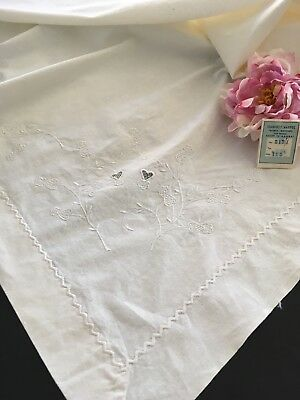 Antique Embroidered Heavy Cotton Flat Sheet NWT