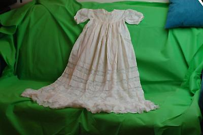 Beautiful Antique Handmade Baby Christening Gown Dress Cream Lace