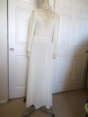 """VINTAGE SHEER LACE VICTORIAN STYLE WEDDING DRESS """"STRAUSS BY BONNIE"""" Sz 8"""