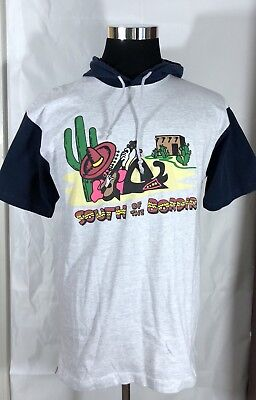SOUTH OF THE BORDER Vintage 90's Hooded T Shirt 50/50 Medium 1991