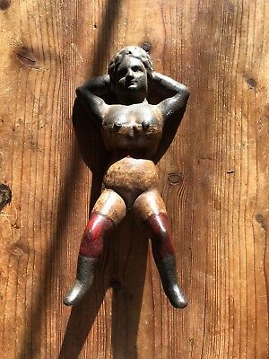 Early 1900s Antique Cast Iron Boot Jack Pull Naughty Nellie with Original Paint