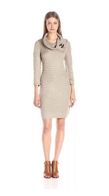 f4cdecc0788 NWT Calvin Klein Khaki Womens M Buckled Cowl Neck Knit Sweater Dress  134