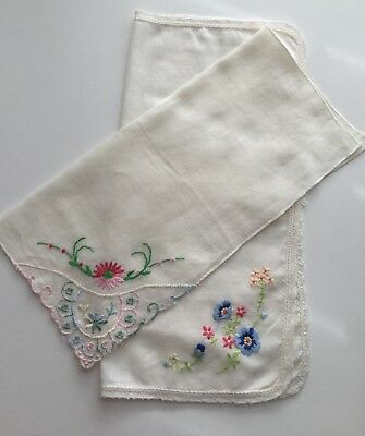Vintage Cotton Floral Hankies Ecru with Pink Blue Yellow Flowers
