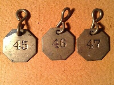 Vintage Antique Brass Livestock Cattle Sheep Tags