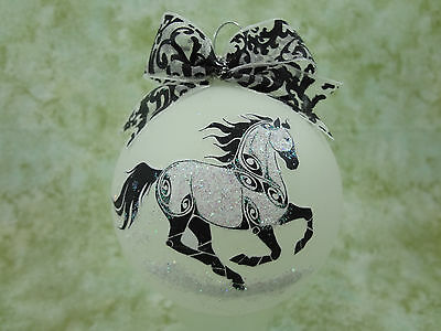 T008 Hand-made Christmas Ornament stylized HORSE tattoo - canter gallop baroque