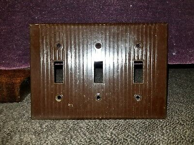 Vintage LEVITON UNILINE Brown BAKELITE Triple-Gang Light Switch Plate Cover