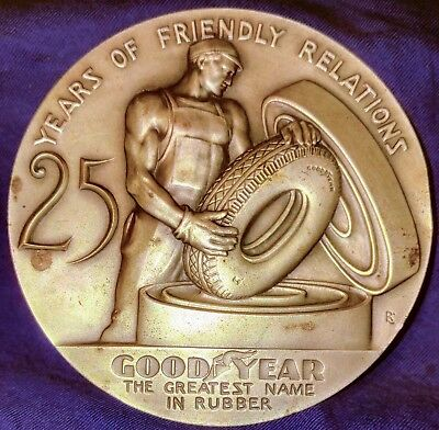 25 Years Of Friendly Relations Goodyear Tires Award Paperweight Old Nickel Color