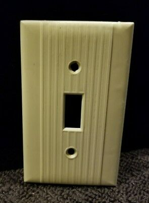 Vintage Reliance Ribbed Lines Beige Bakelite Switch Wall Plate Cover Art Deco