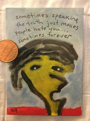 ACEO art original painting face humor guy funny outsider primitive folk abstract