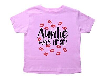 AUNTIE WAS HERE / Cute Aunt Inspired Funny Unisex Kids T-Shirt / Red Kisses
