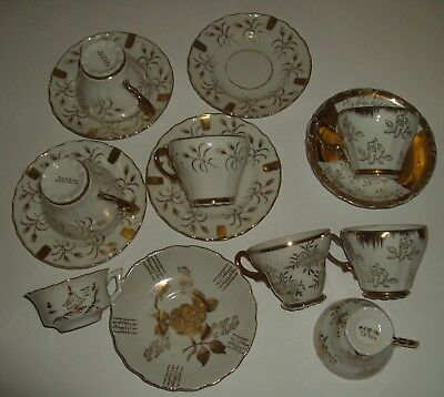 Gold Gilt Small Cups & Saucers marked Japan (One Occupied) Lot of 14 Pieces