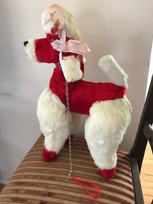 Vintage 50's Valentine's Day Red White Poodle Hard Plush w/Leash & Pin