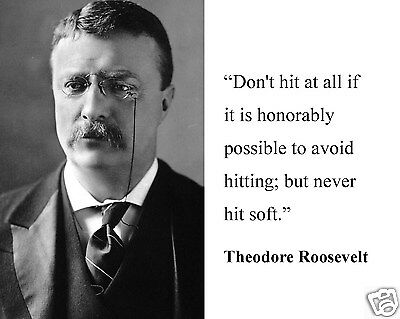 """Theodore Teddy Roosevelt  """" never hit soft """" Quote 8 x 10 Photo Picture #hf2"""