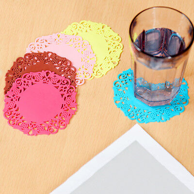 10pcs/set Lace Flower Cup Mat Silicone Coaster Glass Cushion Placemat Colorful