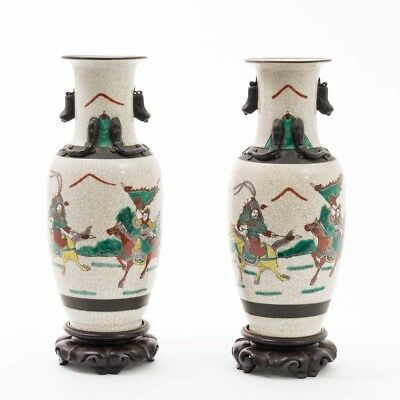 "Pair of Antique Chinese Urn Vases Warrior Scenes Handles & Wood Bases 13.75"" T"