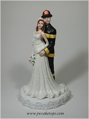 Fireman Firefighter Black Gear Wedding Caketopper 49FB3