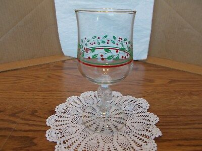 Vintage Arbys Holly Berry Christmas Goblets Bow Stems Holiday Water Wine Set-4
