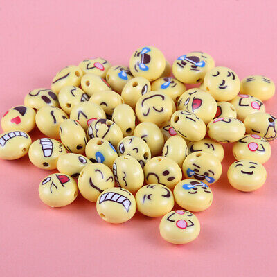 100x Lovely Emoji Face Polymer Clay Loose Beads Charm 12*8mm Fit DIY Bracelet