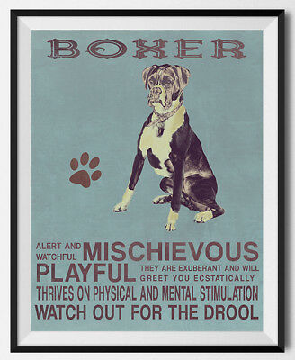 BOXER Dog character Quote Art Print 8 x 10 image modern home wall decor