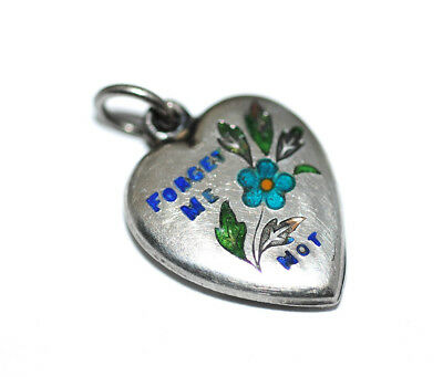 Antique Sterling Silver Enamel Forget Me Not Puffy Heart Charm, Old Vtg 1940s