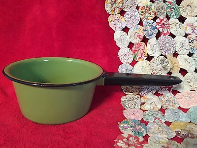 Vintage Green Enamelware Pot with Black Handle and Trim Unusual Color