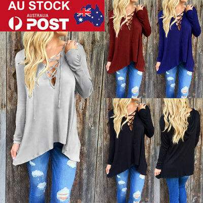 Plus Size Womens V Neck Bandage Hooded T-Shirt Long Blouse Tops Pullover Jumper