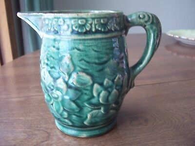 Vintage McCoy Pottery Green Water Pitcher with Fish Handle Unmarked