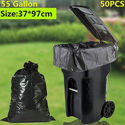 50 Large 55 Gallon Commercial Trash Can Bags Heavy Garbage Duty Yard, 1.5 Mil VP