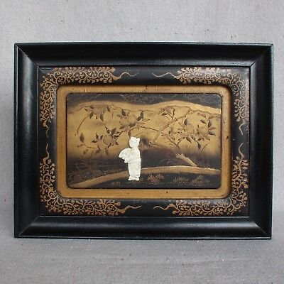 Antique Japanese Meiji Edo Framed Lacquered Carved Panel Woman Persimmon Tree