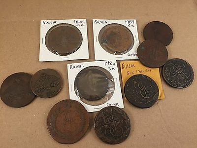 (11 pieces) old large coppers RUSSIA (5K and 10K)